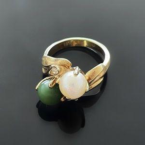 💍 Beautiful Vintage 18khge Pearl Ring